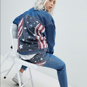 Pull & Bear American Flag Denim Jacket